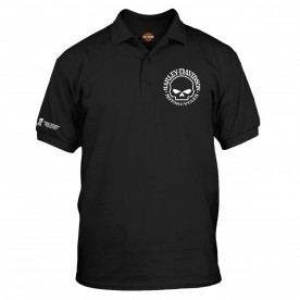 Harley-Davidson Military  - Men's Black Graphic 3-Button Polo Sport Shirt - Overseas Tour | Willie G